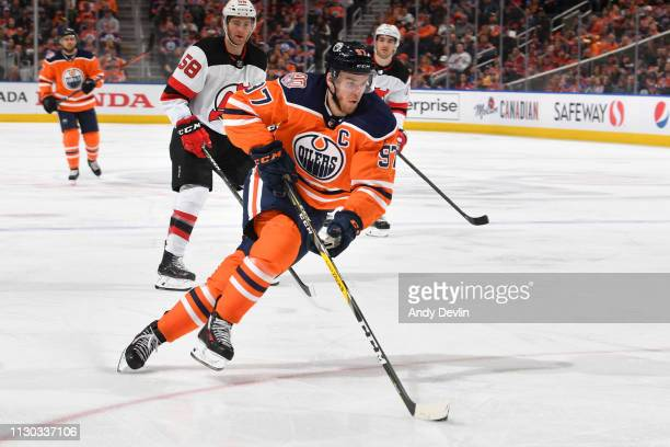 Connor McDavid of the Edmonton Oilers skates during the game against the New Jersey Devils on March 13 2019 at Rogers Place in Edmonton Alberta Canada