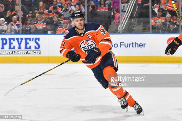 Connor McDavid of the Edmonton Oilers skates during the game against the San Jose Sharks on April 4 2019 at Rogers Place in Edmonton Alberta Canada