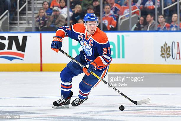 Connor McDavid of the Edmonton Oilers skates during the game against the New York Rangers on November 13 2016 at Rogers Place in Edmonton Alberta...