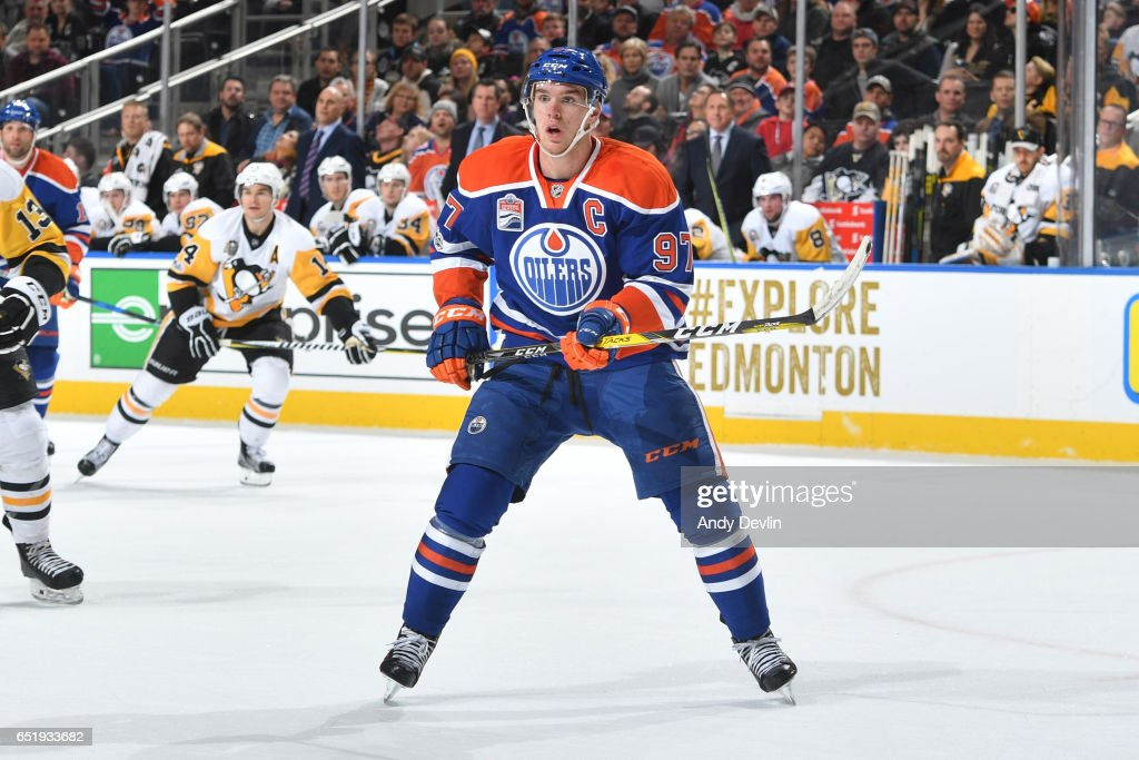 Connor McDavid #97 of the Edmonton Oilers skates during the game against the Pittsburgh Penguins on March 10, 2017 at Rogers Place in Edmonton, Alberta, Canada.
