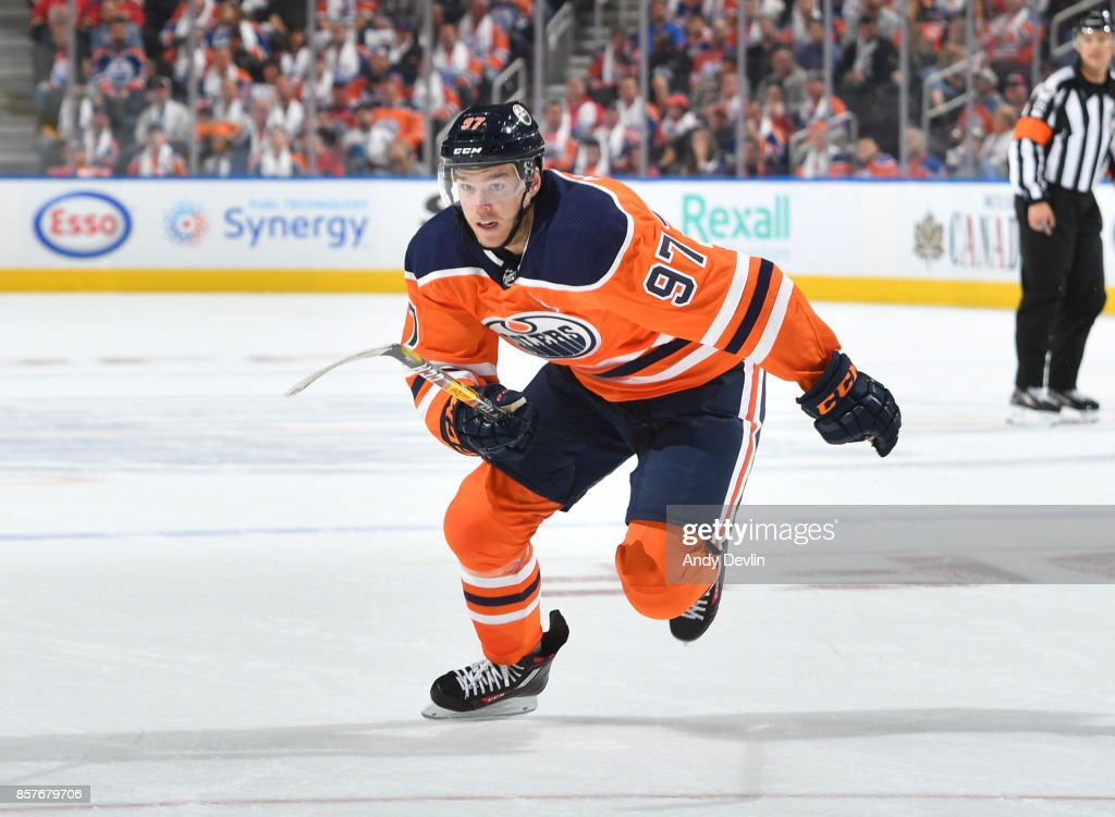 Connor McDavid #97 of the Edmonton Oilers skates during the game against the Calgary Flames on October 4, 2017 at Rogers Place in Edmonton, Alberta, Canada.