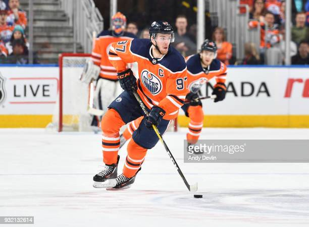 Connor McDavid of the Edmonton Oilers skates during the game against the San Jose Sharks on March 14 2018 at Rogers Place in Edmonton Alberta Canada