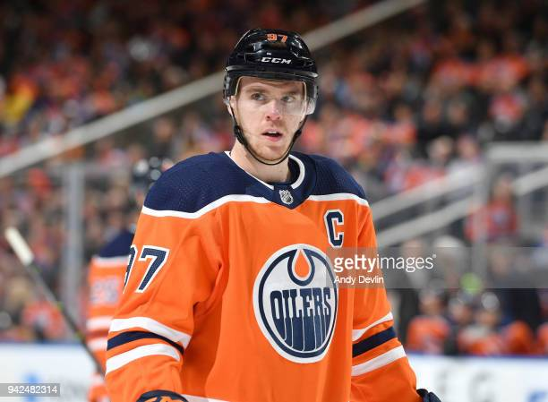 Connor McDavid of the Edmonton Oilers skates during the game against the Vegas Golden Knights on April 5 2018 at Rogers Place in Edmonton Alberta...