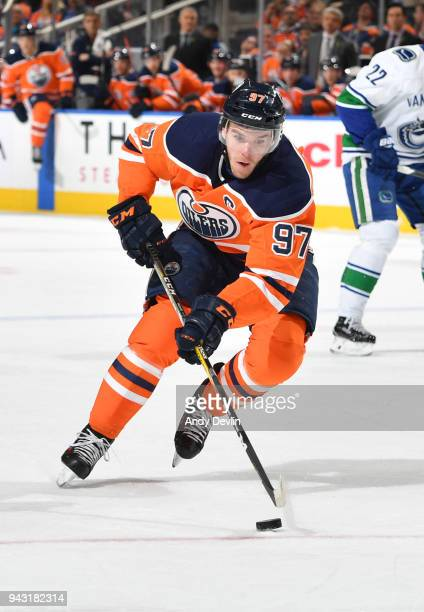 Connor McDavid of the Edmonton Oilers skates during the game against the Vancouver Canucks on April 7 2018 at Rogers Place in Edmonton Alberta Canada