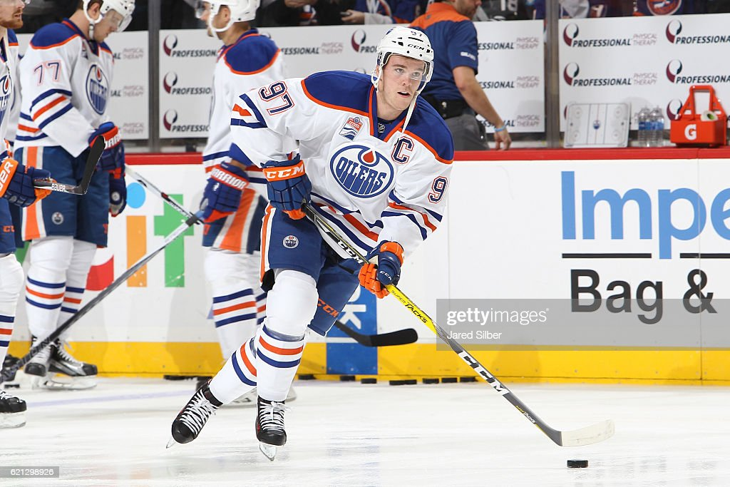 Connor McDavid #97 of the Edmonton Oilers skates during warm ups before the game against the New York Islanders at the Barclays Center on November 5, 2016 in Brooklyn borough of New York City.