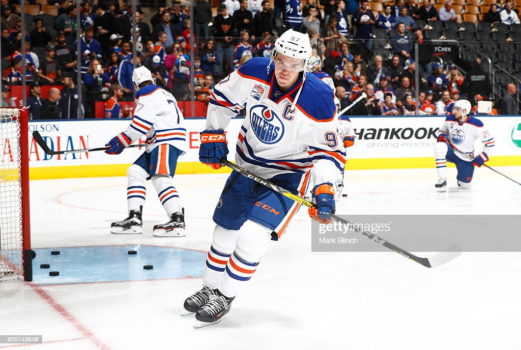 TORONTO, ON - NOVEMBER 1 - Connor McDavid #97 of the Edmonton Oilers skates during warmup before playing the Toronto Maple Leafs at the Air Canada Centre on November 1, 2016 in Toronto, Ontario, Canada.