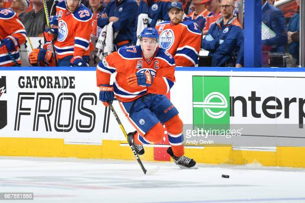 Connor McDavid of the Edmonton Oilers skates in Game One of the Western Conference First Round during the 2017 NHL Stanley Cup Playoffs against the...