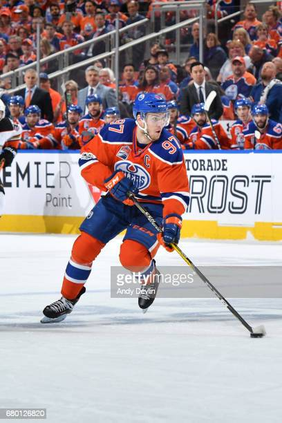 Connor McDavid of the Edmonton Oilers skates in Game Six of the Western Conference Second Round during the 2017 NHL Stanley Cup Playoffs against the...