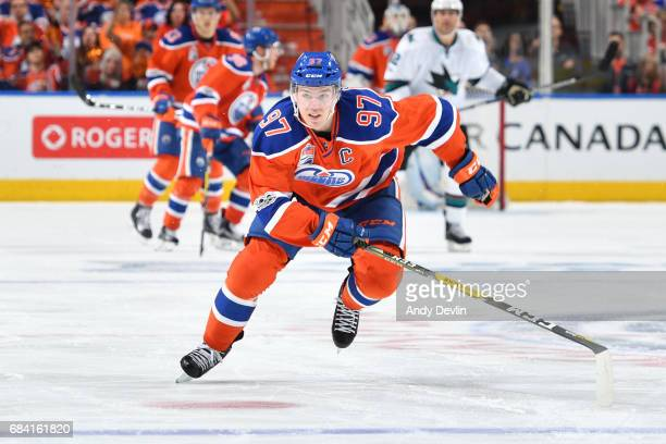 Connor McDavid of the Edmonton Oilers skates in Game Two of the Western Conference First Round during the 2017 NHL Stanley Cup Playoffs against the...