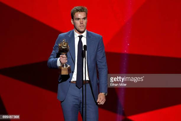 Connor McDavid of the Edmonton Oilers speaks after winning the Hart Memorial Trophy during the 2017 NHL Awards and Expansion Draft at T-Mobile Arena...