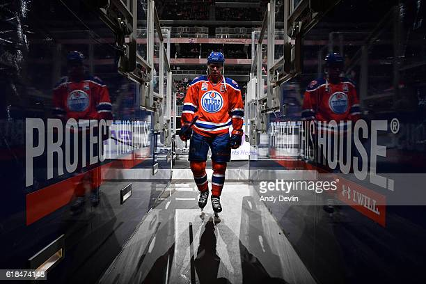 Connor McDavid of the Edmonton Oilers walks to the dressing room prior to the game against the Washington Capitals on October 26 2016 at Rogers Place...