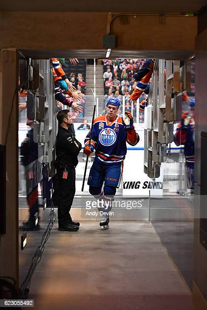 Connor McDavid of the Edmonton Oilers walks to the dressing room prior to the game against the New York Rangers on November 13 2016 at Rogers Place...