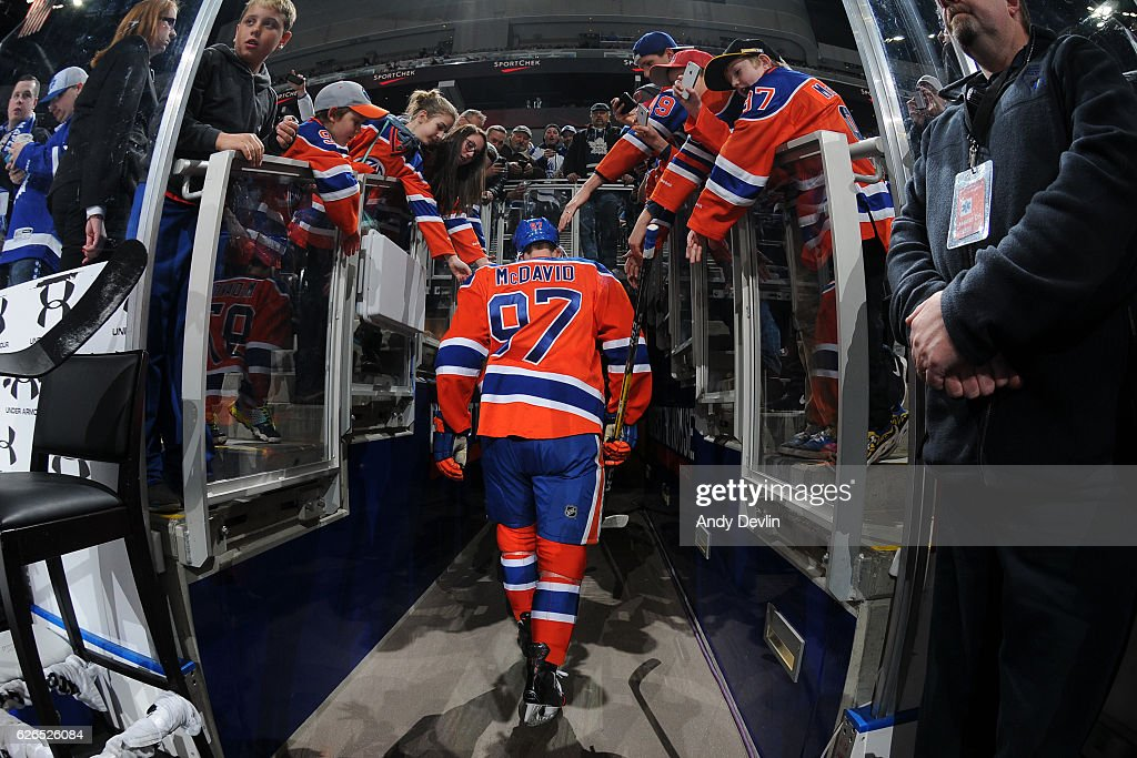 Connor McDavid #97 of the Edmonton Oilers walks to the dressing room prior to the game against the Toronto Maple Leafs on November 29, 2016 at Rogers Place in Edmonton, Alberta, Canada.