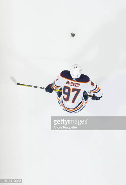 Connor McDavid of the Edmonton Oilers warms up prior to a game against the Ottawa Senators at Canadian Tire Centre on February 9, 2021 in Ottawa,...