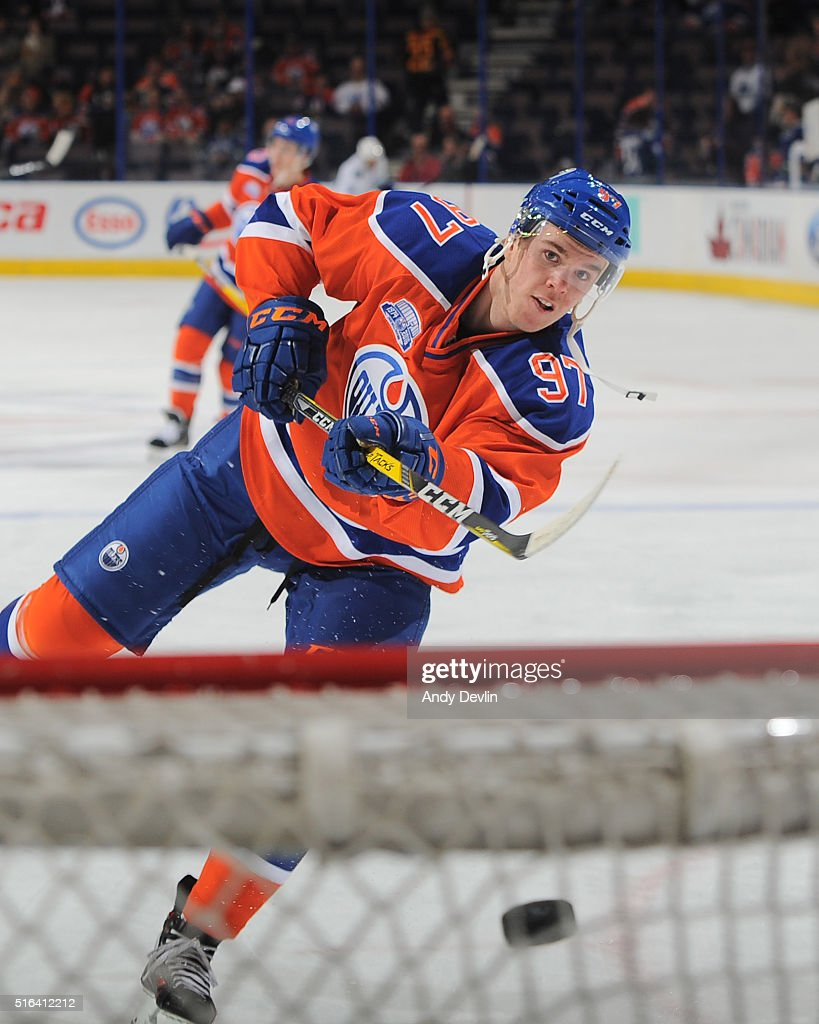 Connor McDavid #97 of the Edmonton Oilers warms up prior to a game against the Vancouver Canucks on March 18, 2016 at Rexall Place in Edmonton, Alberta, Canada.