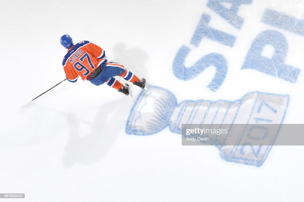 Connor McDavid #97 of the Edmonton Oilers warms up prior to Game One of the Western Conference First Round during the 2017 NHL Stanley Cup Playoffs against the San Jose Sharks on April 12, 2017 at Rogers Place in Edmonton, Alberta, Canada.