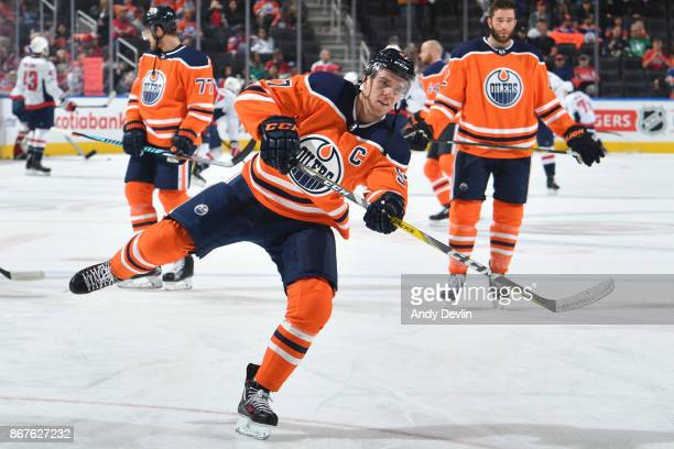 Connor McDavid of the Edmonton Oilers warms up prior to the game against the Washington Capitals on October 28 2017 at Rogers Place in Edmonton...