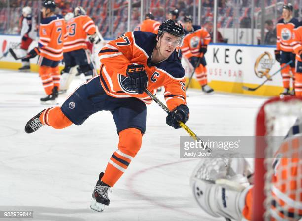 Connor McDavid of the Edmonton Oilers warms up prior to the game against the Columbus Blue Jackets on March 27 2018 at Rogers Place in Edmonton...