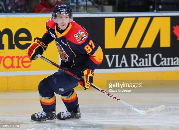 Connor McDavid of the Erie Otters skates in an OHL game against the London Knights on September 21 2012 at the Budweiser Gardens in London Canada The...