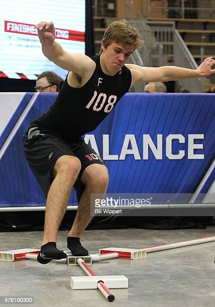 Connor McDavid performs a balance test during the NHL Combine at HarborCenter on June 6 2015 in Buffalo New York