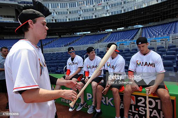 Connor McDavid the 2015 NHL Top Draft Prospect get ready for batting while on the Media Tour for batting practice at Marlins Park on June 24 2015 in...