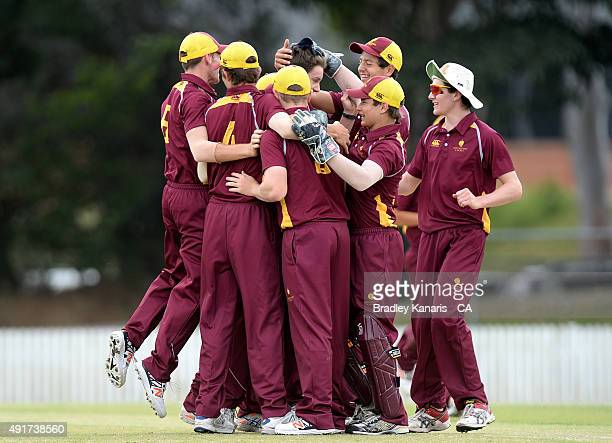 Connor McFadyen of Queensland celebrates with team mates after taking a wicket during the Cricket Australia via Getty Images U17 Championship Final...