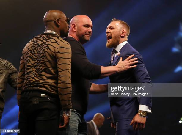 Connor McGregor and Floyd Mayweather with UFC President Dana White during the press conference at the SSE Arena Wembley