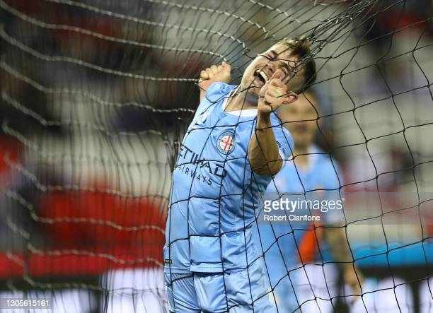 Connor Metcalfe of Melbourne City celebrates after scoring a goal during the A-League match between the Melbourne Victory and Melbourne City FC at...