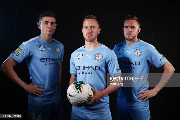 Connor Metcalfe Scott Jamieson and Craig Noone of Melbourne City FC pose during the ALeague 201920 ALeague season launch at Max Watts on October 08...