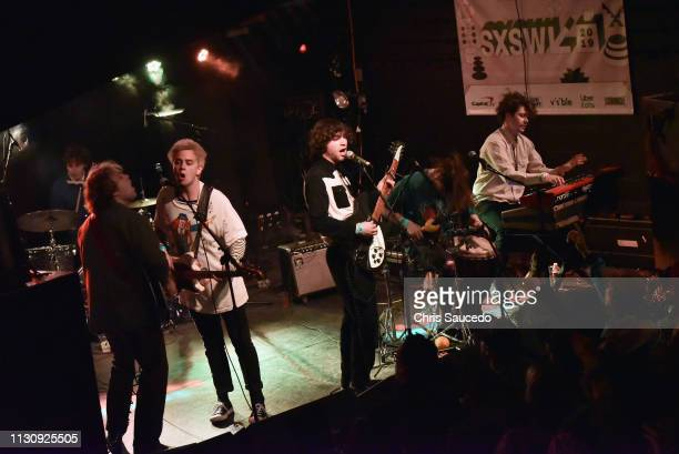 Connor Mikita Shaun Couture Alec Castillo Patton Magee Austin Brose and Zach Merrill of The Nude Party perform onstage at New West Records during the...