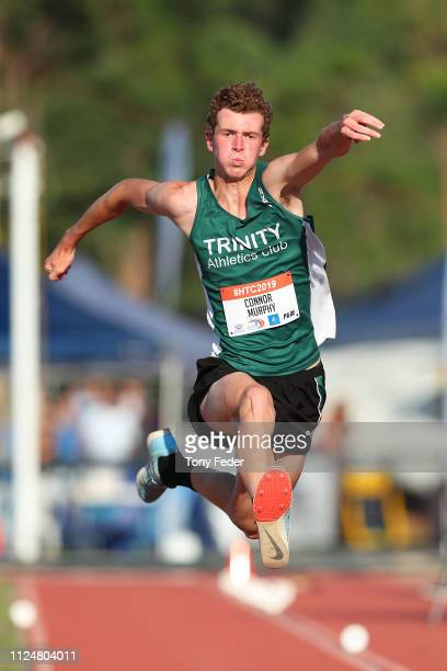 Connor Murphy competes in the mens triple jump during the 2019 Hunter Track Classic at Hunter Sports Centre on January 25, 2019 in Newcastle,...