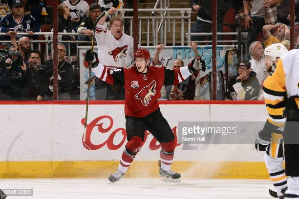 Connor Murphy of the Arizona Coyotes celebrates after his game winning goal in overtime against the Pittsburgh Penguins at Gila River Arena on...