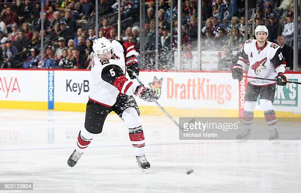 Connor Murphy of the Arizona Coyotes shoots against the Colorado Avalanche at the Pepsi Center on December 27 2015 in Denver Colorado The Coyotes...