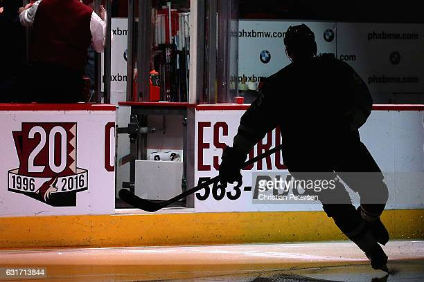 Connor Murphy of the Arizona Coyotes skates onto the ice to start the third period of the NHL game aagainst the Anaheim Ducks t Gila River Arena on...