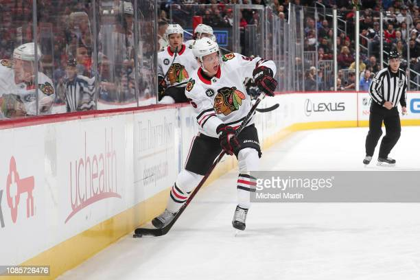 Connor Murphy of the Chicago Blackhawks skates against the Colorado Avalanche at the Pepsi Center on December 21 2018 in Denver Colorado The...