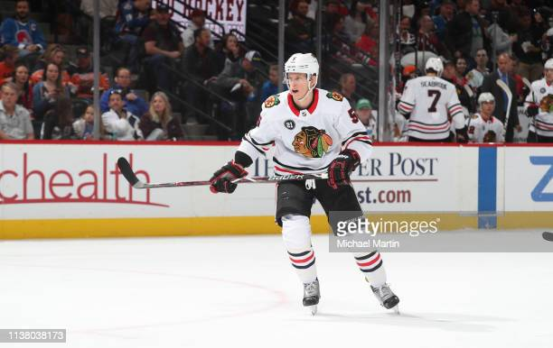 Connor Murphy of the Chicago Blackhawks skates against the Colorado Avalanche at the Pepsi Center on March 23 2019 in Denver Colorado The Avalanche...