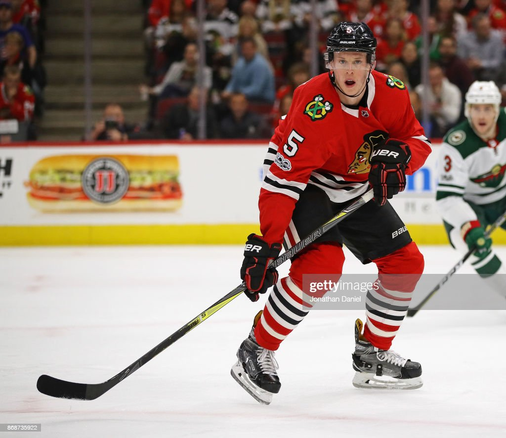 Connor Murphy #5 of the Chicago Blackhawks skates against the Minnesota Wild at the United Center on October 12, 2017 in Chicago, Illinois. The Wild defeated the Blackhawks 5-2.