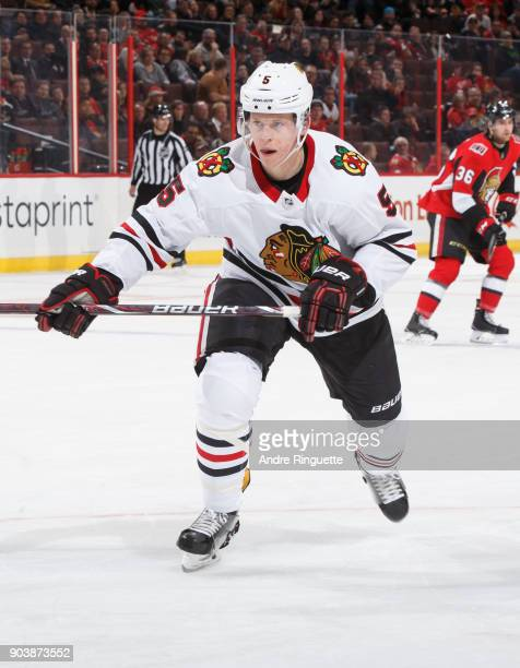 Connor Murphy of the Chicago Blackhawks skates against the Ottawa Senators at Canadian Tire Centre on January 9 2018 in Ottawa Ontario Canada