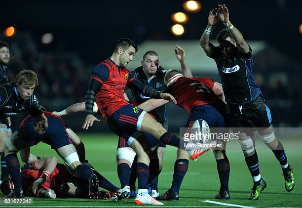 Connor Murray of Munster Rugby kicks for touch under pressure during the European Rugby Champions Cup match between Glasgow Warriors and Munster...