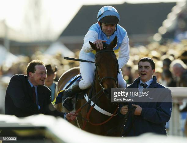 Connor O'Dwyer jockey on Hardy Eustace celebrates after winning the Smurfit Champion Hurdle Race held on the first day of the National Hunt Racing...