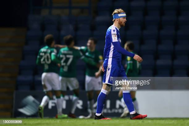 Connor Ogilvie of Gillingham FC looks dejected after conceding his side's second goal during the Sky Bet League One match between Gillingham and...