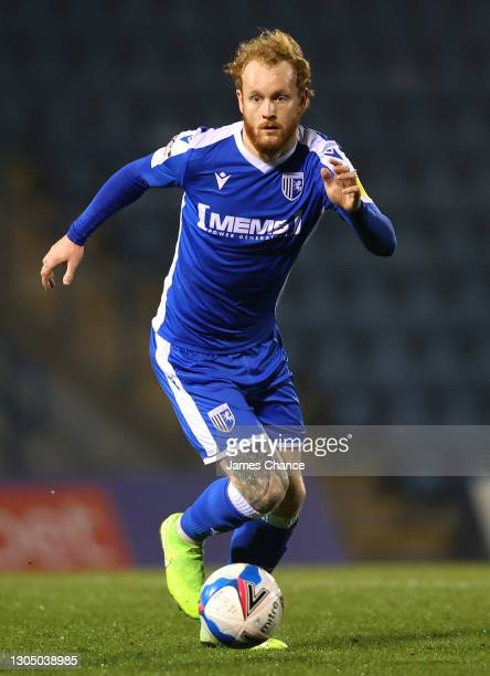 Connor Ogilvie of Gillingham FC runs with the ball during the Sky Bet League One match between Gillingham and Milton Keynes Dons at MEMS Priestfield...