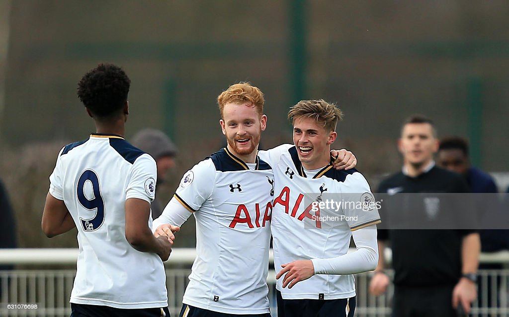 Connor Ogilvie of Tottenham Hotspur celebrates scoring during the Premier League 2 match between Tottenham Hotspur and Chelsea on January 6, 2017 in Enfield, England.