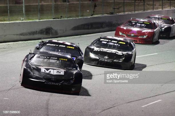 Connor Okrzesik Toyota Camry leads Kyle Rowdy Busch KBR Toyota Camry and Harrison Burton Toyota Camry in the closing laps of the SpeedFest 200 ARCA...