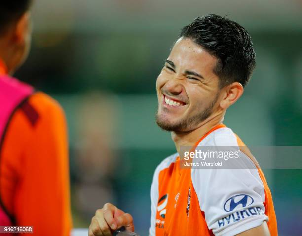 Connor OâToole of the Brisbane Roar is all smiles after their win during the round 27 ALeague match between the Perth Glory and the Brisbane Roar at...