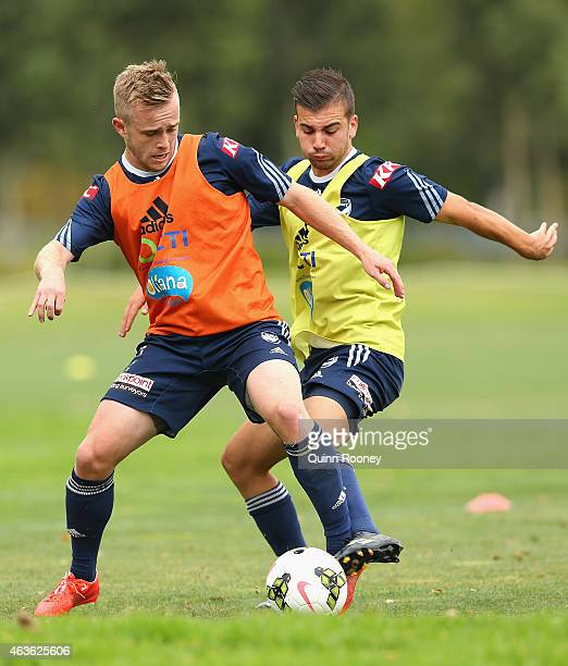 Connor Pain and Dylan Murnane of the Victory contest for the ball during a Melbourne Victory ALeague training session at Gosch's Paddock on February...