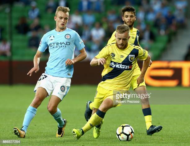 Connor Pain of Central Coast Mariners controls the ball during the round 10 ALeague match between Melbourne City FC and the Central Coast Mariners at...