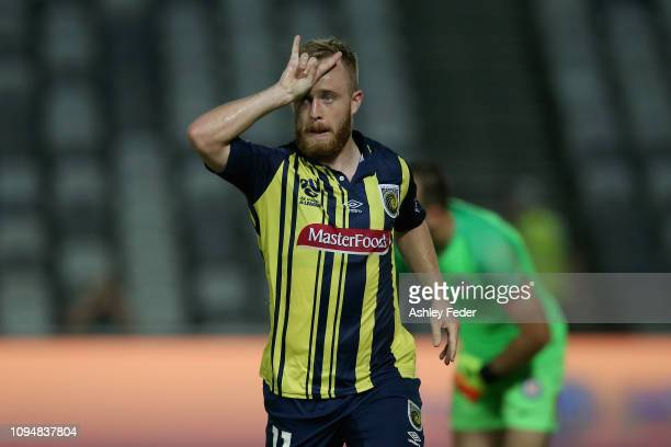 Connor Pain of the Central Coast Mariners celebrates his goal during the round 12 ALeague match between the Central Coast Mariners and Melbourne City...