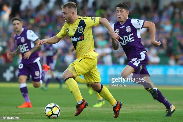 Connor Pain of the Mariners controls the ball during the round three ALeague match between Perth Glory and the Central Coast Mariners at nib Stadium...