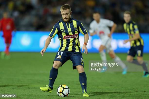 Connor Pain of the Mariners in action during the round 13 ALeague match between the Central Coast Mariners and the Wellington Phoenix at Central...